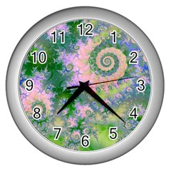 Rose Apple Green Dreams, Abstract Water Garden Wall Clock (silver) by DianeClancy