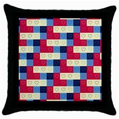 Hearts Black Throw Pillow Case by Siebenhuehner