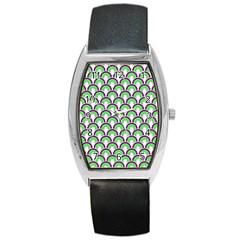 Retro Tonneau Leather Watch by Siebenhuehner