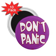 Purple Don t Panic Sign 2 25  Button Magnet (10 Pack) by FunWithFibro