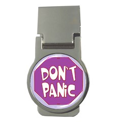 Purple Don t Panic Sign Money Clip (round)