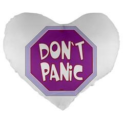 Purple Don t Panic Sign 19  Premium Heart Shape Cushion by FunWithFibro