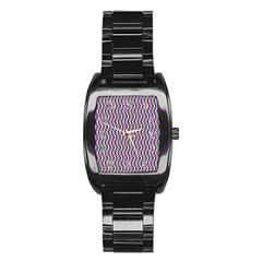 Pattern Stainless Steel Barrel Watch