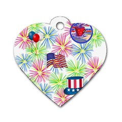 Patriot Fireworks Dog Tag Heart (one Sided)  by StuffOrSomething