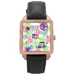 Patriot Fireworks Rose Gold Leather Watch  by StuffOrSomething