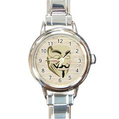 We The Anonymous People Round Italian Charm Watch by StuffOrSomething