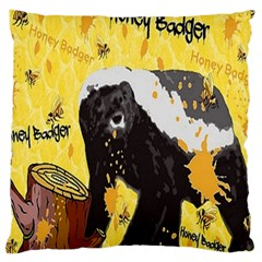 Honeybadgersnack Large Cushion Case (two Sided)  by BlueVelvetDesigns
