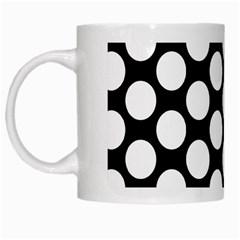 Black And White Polkadot White Coffee Mug by Zandiepants