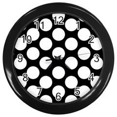 Black And White Polkadot Wall Clock (black) by Zandiepants