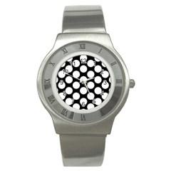 Black And White Polkadot Stainless Steel Watch (slim) by Zandiepants
