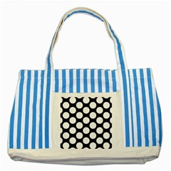 Black And White Polkadot Blue Striped Tote Bag by Zandiepants