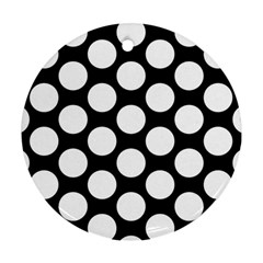 Black And White Polkadot Round Ornament (two Sides) by Zandiepants
