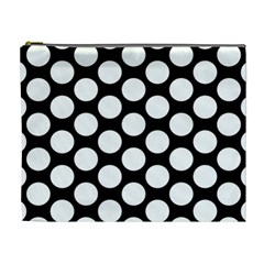 Black And White Polkadot Cosmetic Bag (xl) by Zandiepants