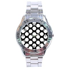 Black And White Polkadot Stainless Steel Watch by Zandiepants