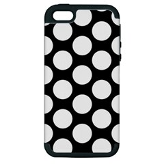 Black And White Polkadot Apple iPhone 5 Hardshell Case (PC+Silicone) by Zandiepants