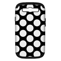 Black And White Polkadot Samsung Galaxy S Iii Hardshell Case (pc+silicone) by Zandiepants