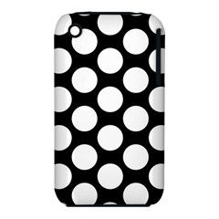 Black And White Polkadot Apple iPhone 3G/3GS Hardshell Case (PC+Silicone) by Zandiepants