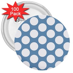 Blue Polkadot 3  Button (100 Pack) by Zandiepants
