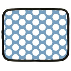 Blue Polkadot Netbook Sleeve (xl) by Zandiepants