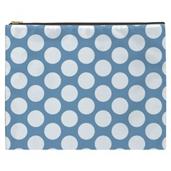 Blue Polkadot Cosmetic Bag (xxxl) by Zandiepants