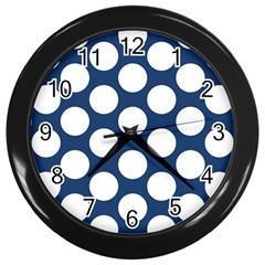 Dark Blue Polkadot Wall Clock (black) by Zandiepants