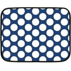 Dark Blue Polkadot Mini Fleece Blanket (two Sided) by Zandiepants