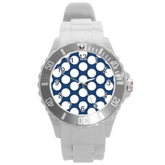 Dark Blue Polkadot Plastic Sport Watch (large) by Zandiepants