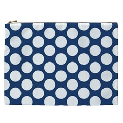Dark Blue Polkadot Cosmetic Bag (xxl) by Zandiepants