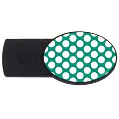Emerald Green Polkadot 4GB USB Flash Drive (Oval) by Zandiepants