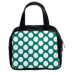 Emerald Green Polkadot Classic Handbag (two Sides) by Zandiepants