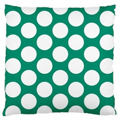 Emerald Green Polkadot Large Cushion Case (two Sided)  by Zandiepants