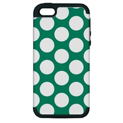 Emerald Green Polkadot Apple Iphone 5 Hardshell Case (pc+silicone) by Zandiepants