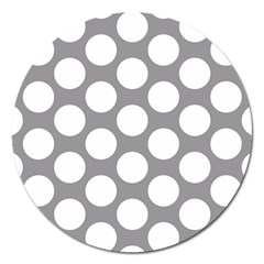 Grey Polkadot Magnet 5  (round) by Zandiepants