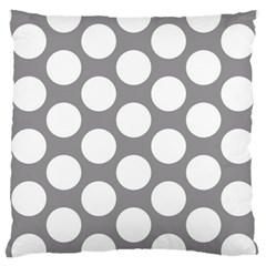 Grey Polkadot Large Cushion Case (single Sided)  by Zandiepants