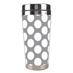 Grey Polkadot Stainless Steel Travel Tumbler by Zandiepants