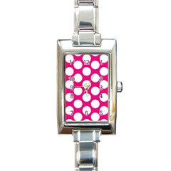 Pink Polkadot Rectangular Italian Charm Watch by Zandiepants