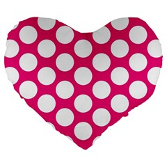 Pink Polkadot 19  Premium Heart Shape Cushion by Zandiepants