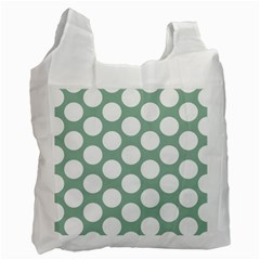 Jade Green Polkadot White Reusable Bag (One Side) by Zandiepants
