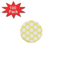 Yellow Polkadot 1  Mini Button (100 Pack) by Zandiepants