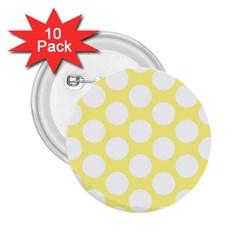 Yellow Polkadot 2 25  Button (10 Pack) by Zandiepants