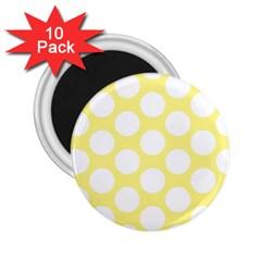 Yellow Polkadot 2 25  Button Magnet (10 Pack) by Zandiepants
