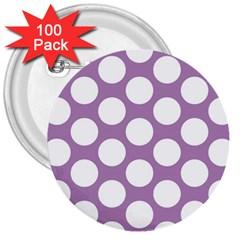 Lilac Polkadot 3  Button (100 Pack) by Zandiepants