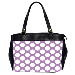 Lilac Polkadot Oversize Office Handbag (two Sides) by Zandiepants
