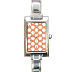 Orange Polkadot Rectangular Italian Charm Watch by Zandiepants