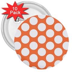 Orange Polkadot 3  Button (10 Pack) by Zandiepants