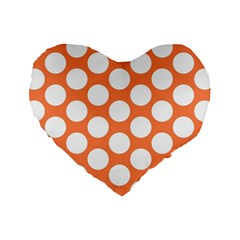 Orange Polkadot 16  Premium Heart Shape Cushion