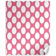 Pink Polkadot Canvas 16  X 20  (unframed) by Zandiepants