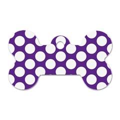 Purple Polkadot Dog Tag Bone (one Sided) by Zandiepants