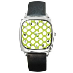 Spring Green Polkadot Square Leather Watch by Zandiepants