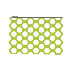 Spring Green Polkadot Cosmetic Bag (large) by Zandiepants